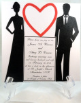 Large Die Cut Silhouette Couple Red Heart