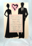 Die Cut Black Silhouette Couple Pink And Black Open Heart
