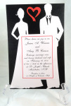Die Cut White Silhouette Couple On Black Red Open Heart