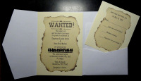 Western Wanted Poster Pocket Folder With RSVP Card