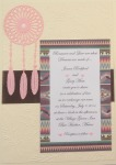 Dreamcatcher Pink On Ivory Brown Ribbon